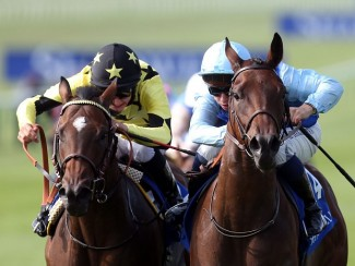 Miss France (right) beats Lightning Thunder to win at Newmarket