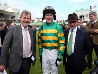 Tony McCoy with Jonjo O'Neill (right) and JP McManus before his last race