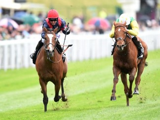 Trip To Paris (left) collars Quick Jack in the Chester Cup