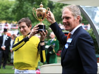 James Doyle (left) and Michael Bell with the Gold Cup after Big Orange's stirring success