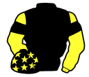 black, yellow sleeves, black armlets, black cap, yellow stars