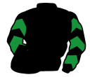 black, emerald green chevrons on sleeves