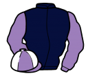 dark blue, lilac sleeves, lilac and white quartered cap