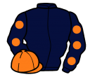 dark blue, orange spots on sleeves, orange cap