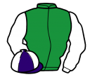 emerald green, white sleeves, purple and white quartered cap