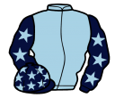 light blue, dark blue sleeves, light blue stars, dark blue cap, light blue stars