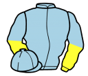 light blue, yellow and light blue halved sleeves