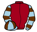 maroon, light blue and brown hooped sleeves, quartered cap