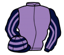 mauve, dark blue and mauve striped sleeves, hooped cap