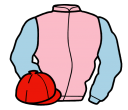 pink, light blue sleeves, red cap