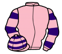 pink, purple hooped sleeves and cap