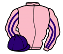pink, purple striped sleeves, purple cap