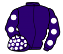 purple, white spots on sleeves and cap