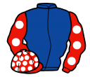 royal blue, red sleeves, white spots, red cap, white spots