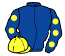 royal blue, yellow spots on sleeves, yellow cap