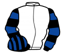 white, black & royal blue hooped sleeves, black & royal blue striped cap