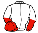 white, red and white halved sleeves, red cap