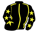 black, yellow seams, black sleeves, yellow stars, black cap, yellow star
