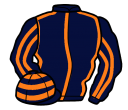 dark blue, orange seams, striped sleeves, hooped cap