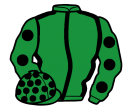 emerald green, black seams, emerald green sleeves, black spots and spots on cap