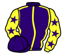 purple, yellow seams, yellow sleeves, purple stars, purple cap