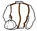white, brown seams, white sleeves and cap