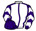 white, purple seams, purple and white chevrons on sleeves, purple cap