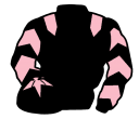 black, pink epaulets, chevrons on sleeves, black cap, pink star