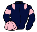 dark blue, pink epaulets, armlets and cap