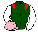 dark green, red epaulets, white sleeves, pink cap