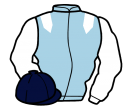 light blue, white epaulets and sleeves, dark blue cap