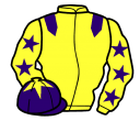 yellow, purple epaulets, yellow sleeves, purple stars, purple cap, yellow star