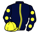 dark blue, yellow stripe, dark blue sleeves, yellow spots, yellow cap