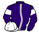 purple, white stripe, armlets and cap