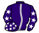 purple, white stripe, purple sleeves, white stars and stars on cap