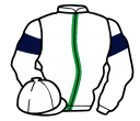 white, emerald green stripe, white sleeves, dark blue armlets