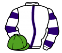 white, purple stripe, hooped sleeves, light green cap