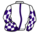 white, purple stripe, purple and white check sleeves and cap