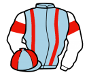 light blue, red braces, white sleeves, red armlets, light blue and red quartered cap