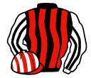 black and red stripes, white and black striped sleeves, red and white striped cap