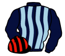 dark blue and light blue stripes, black and red striped cap