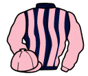 dark blue and pink stripes, pink sleeves and cap