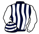 dark blue and white stripes, white sleeves, hooped cap