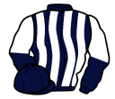 dark blue and white stripes, halved sleeves