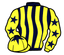 dark blue and yellow stripes, yellow sleeves, dark blue stars, yellow cap, dark blue star