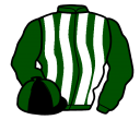 green and white stripes, black and green quartered cap