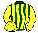 dark green and yellow stripes, yellow sleeves and cap