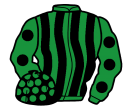 emerald green and black stripes, emerald green sleeves, black spots, black cap, emerald green spots