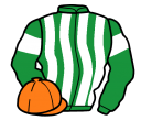 emerald green and white stripes, emerald green sleeves, white armlets, orange cap