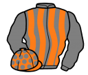 grey and orange stripes, grey sleeves, orange cap, grey spots